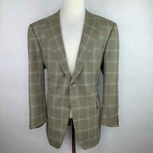 Canali 46R Super 120s Wool Sport Coat Plaid Italy